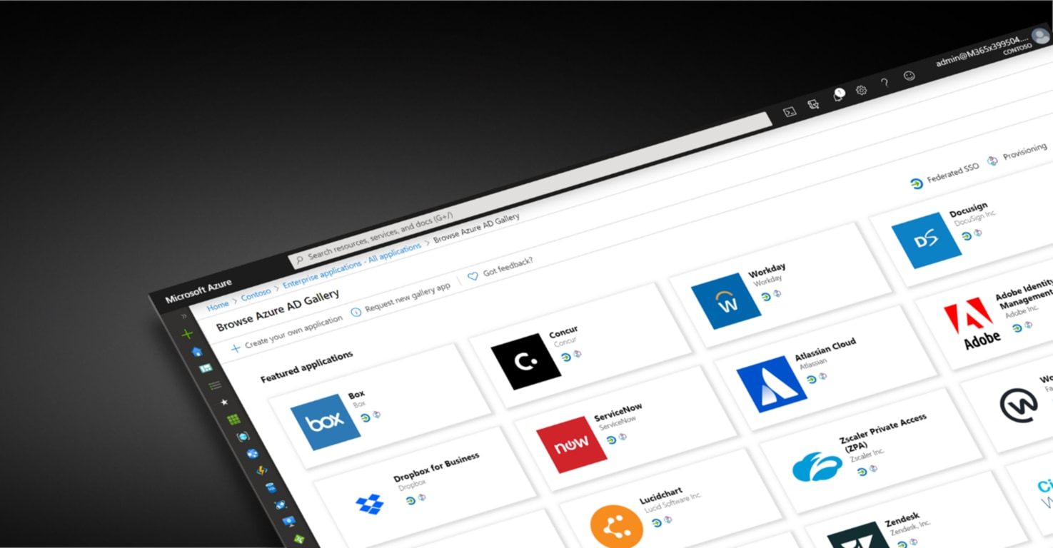 The Microsoft Azure window with Azure AD Gallery showing the list of available apps