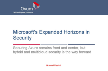 Page that says Microsoft's Expanded Horizons in Security along with other text