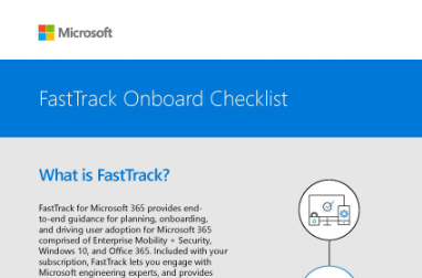 Page that says FasTrack Onboard Checklist and What is FastTrack? with other text and a diagram