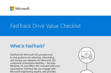 Page that says FastTrack Drive Value Checklist and What is FastTrack? with other text and a small diagram