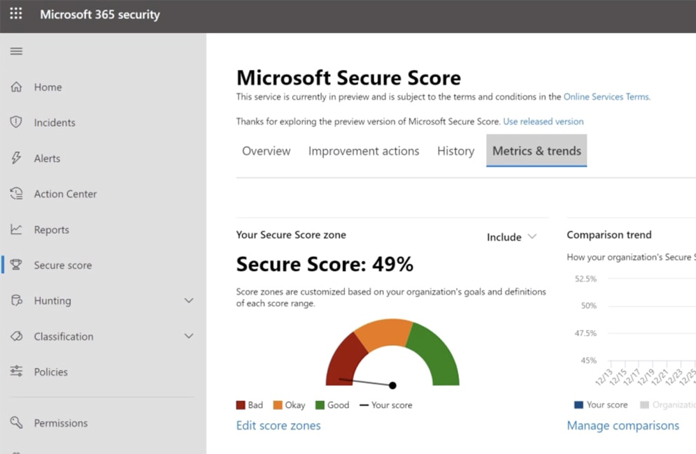 Still image from video showing Secure Score screen
