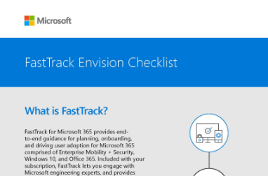 Page that says FastTrack Envision Checklist and What is FastTrack? with text and a small diagram