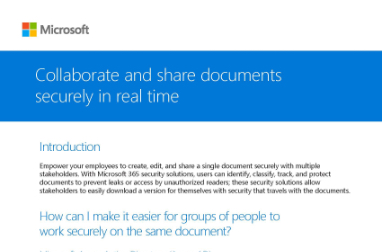Page that says Collaborate and share documents securely in real time along with other text