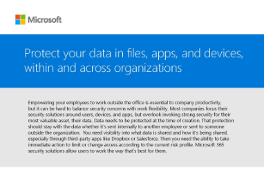 Page that says Protect your data in files, apps, and devices, within and across organizations along with other text