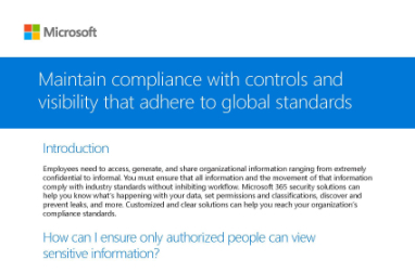 Page that says Maintain compliance with controls and visibility that adhere to global standards along with other text
