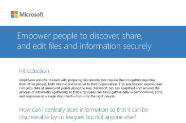 Page that says Empower people to discover, share, and edit files and information securely