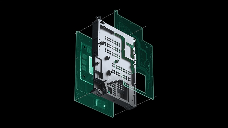 Exploded view of Xbox Series X heat sink chassis