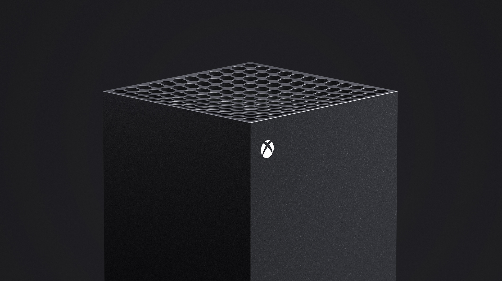Xbox Series X console top view with green light illuminated