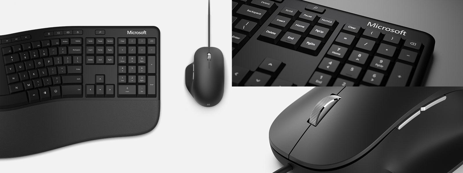Up close details of A Microsoft Ergonomic Keyboard and a Microsoft Ergonomic Mouse.
