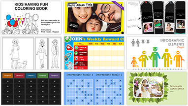 Grid of 9 free activity apps from Office templates collection