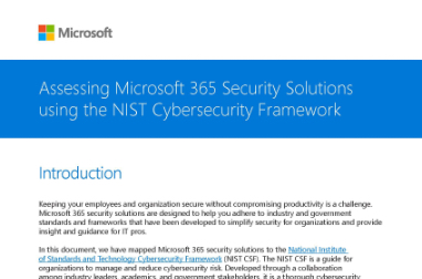 Page that says Assessing Microsoft 365 Security Solutions using the NIST Cybersecurity Framework with other text