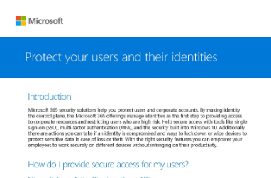 Page that says Protect your users and their identities
