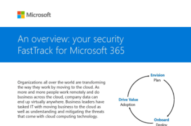 Page that says An overview: your security FastTrack for Microsoft 365 along with other text and a circular diagram