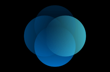 Graphic  of overlapping circles in different shades of blue and green on a black background