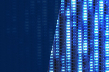 Graphic with columns of small blue lights