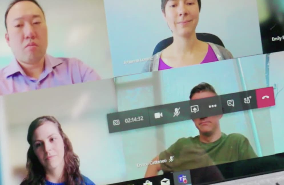 Still image from video showing several people in a Teams video call.