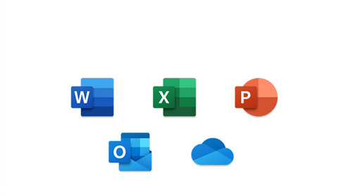 Collection of Microsoft 365 icons, Word, Excel, PowerPoint, Outlook, OneDrive