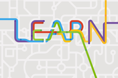 Graphic with intersecting and connected lines with the word LEARN highlighted in bold colors in the center