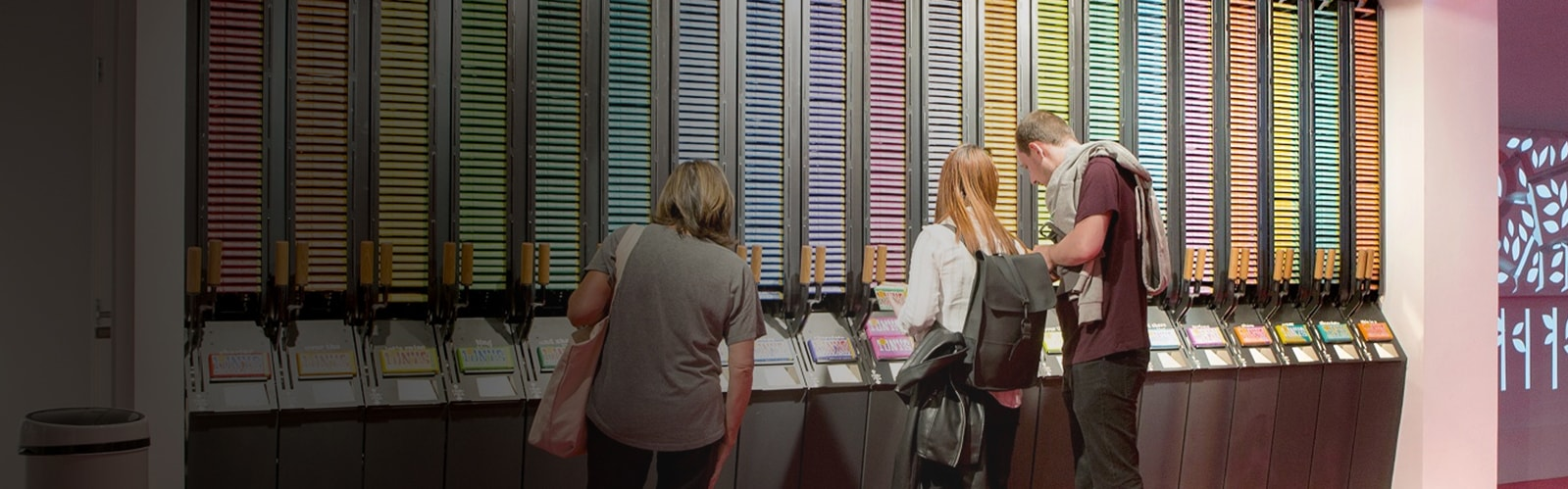 Customers shopping at the colorful Tony's Chocolonely store