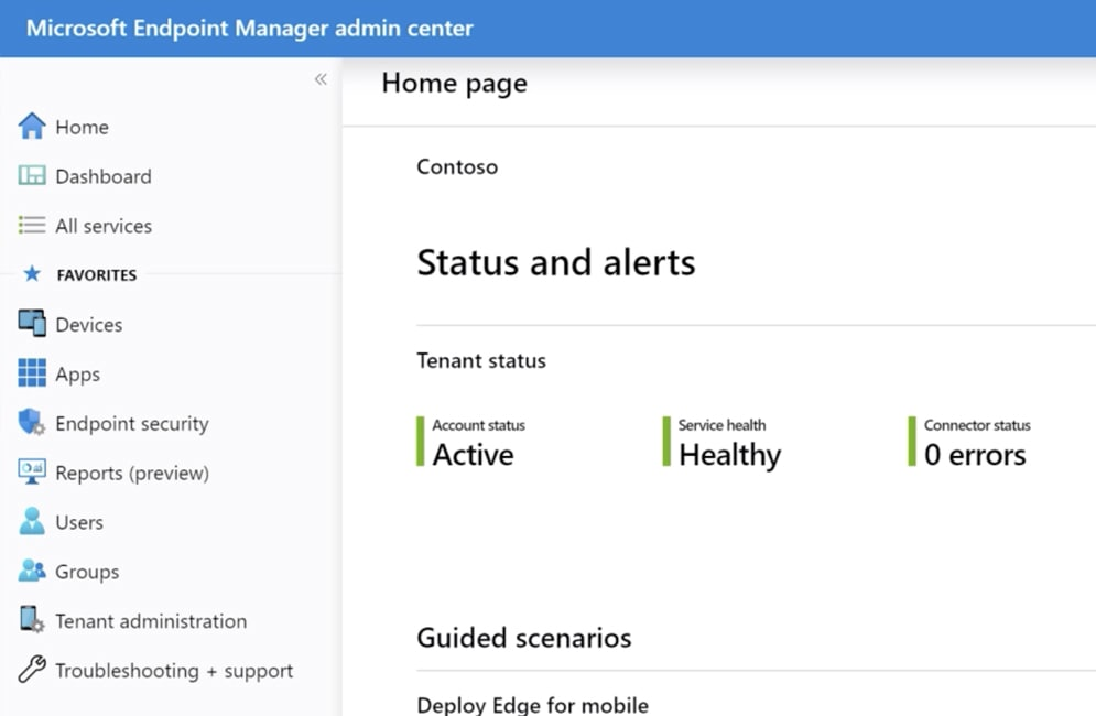 Still image from video showing Endpoint Manager home page screen