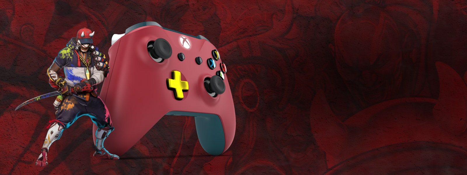 Daemon from Bleeding Edge next to a red xbox one controller with a gold d pad
