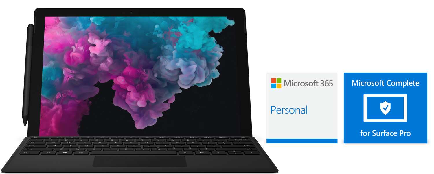 Surface Pro 6, Type Cover, Microsoft 365 Personal logo, and Microsoft Complete for Surface Pro logo.