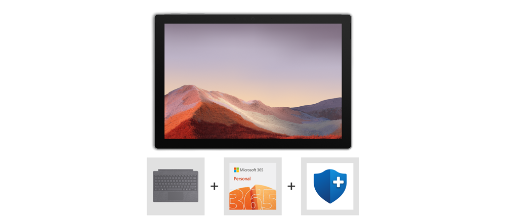 Surface Pro 7, Type Cover, Microsoft 365 Personal logo.