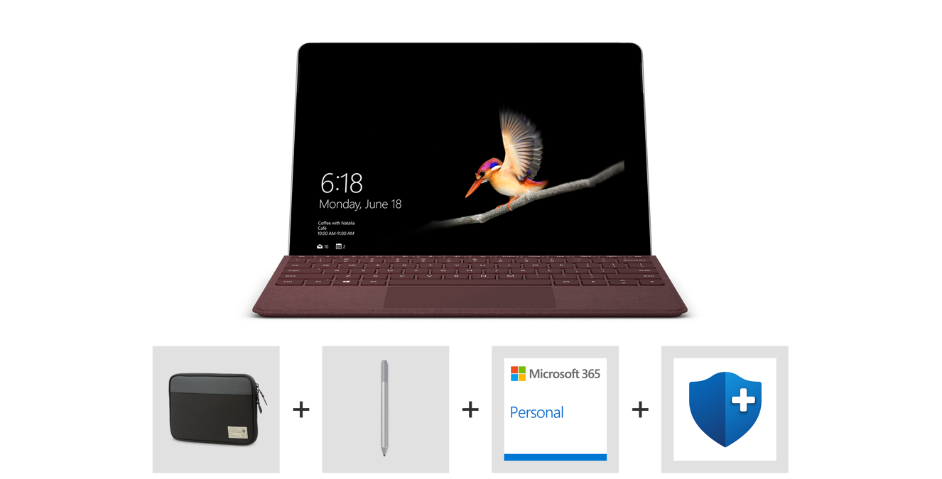 Surface Go, Surface Type Cover, Microsoft Complete for Surface Go logo,and Microsoft 365 Personal logo.