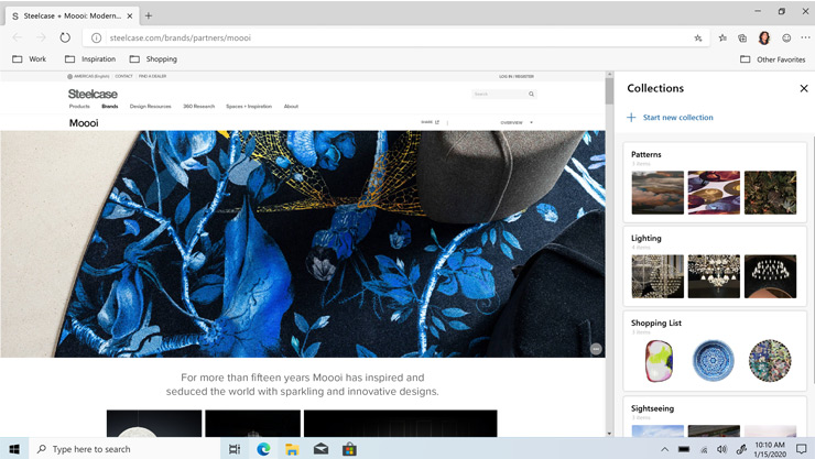 Microsoft Edge browser highlighting Collections