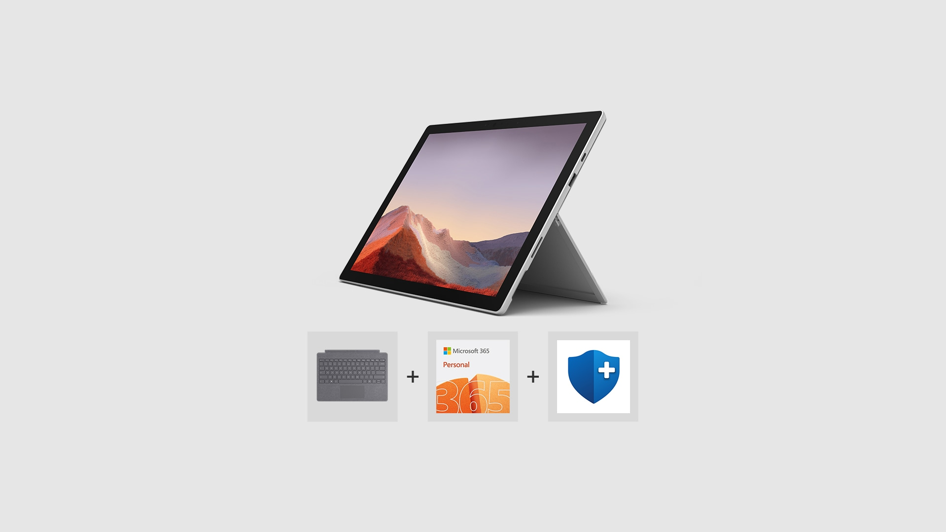 Surface Pro 7, Type Cover, Microsoft 365 Personal logo, and Microsoft Complete for Surface Pro logo.