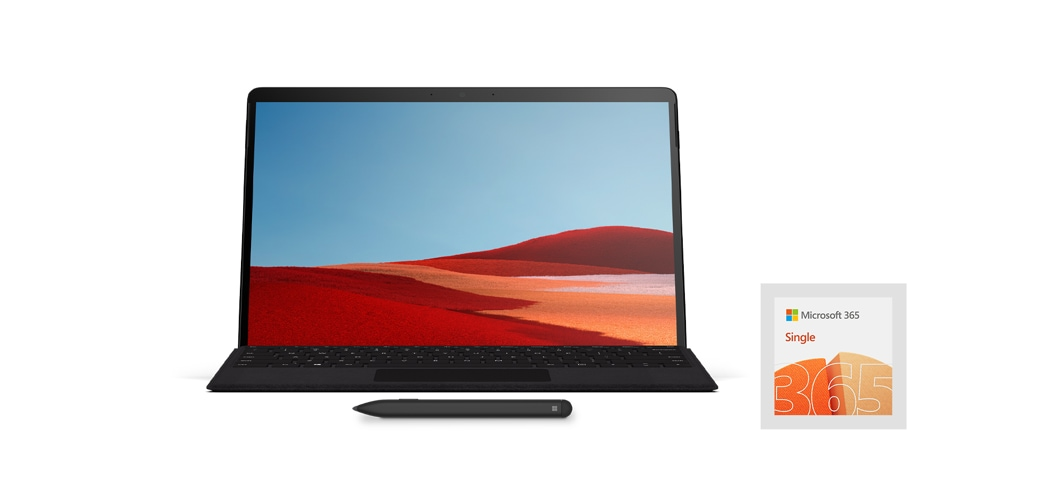 Surface Pro X, Type Cover und Microsoft 365 Single-Logo.