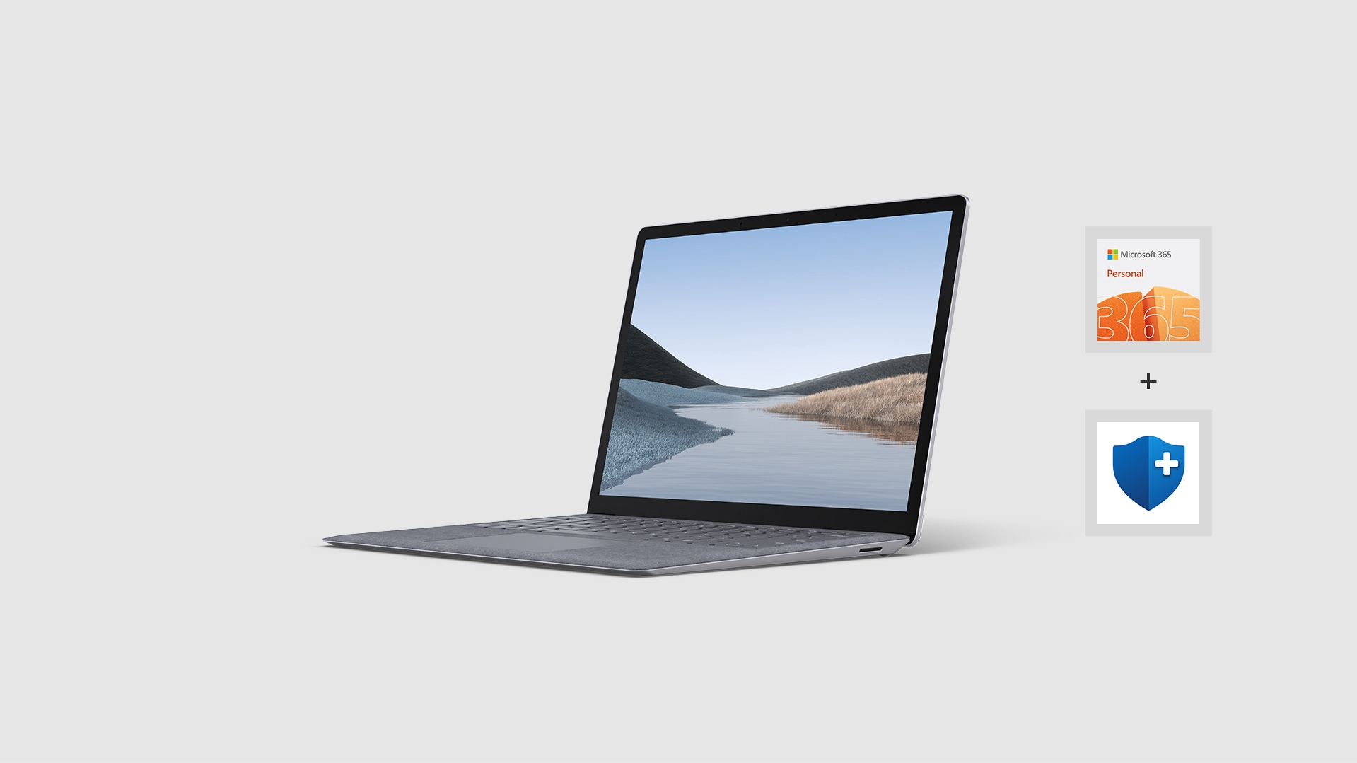 Surface Latop 3, Microsoft 365 Personal logo, and Microsoft Complete for Surface Laptop logo.