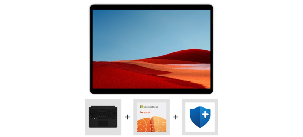 Surface Pro X, Type Cover, Microsoft 365 Personal logo, and Microsoft Complete logo.