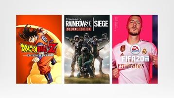 Dragon Ball Z, Call of Duty Black Ops, Rainbow Six SIEGE, Sea of Thieves, FIFA20