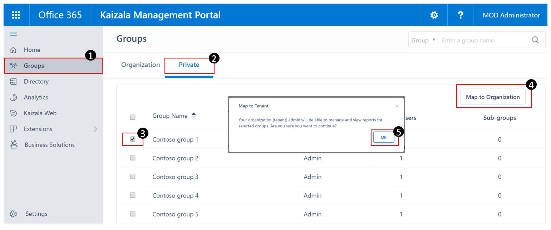 Beschränkung der Verwendung der Kaizala-API auf nur Gruppen mit Organisationszuordnung