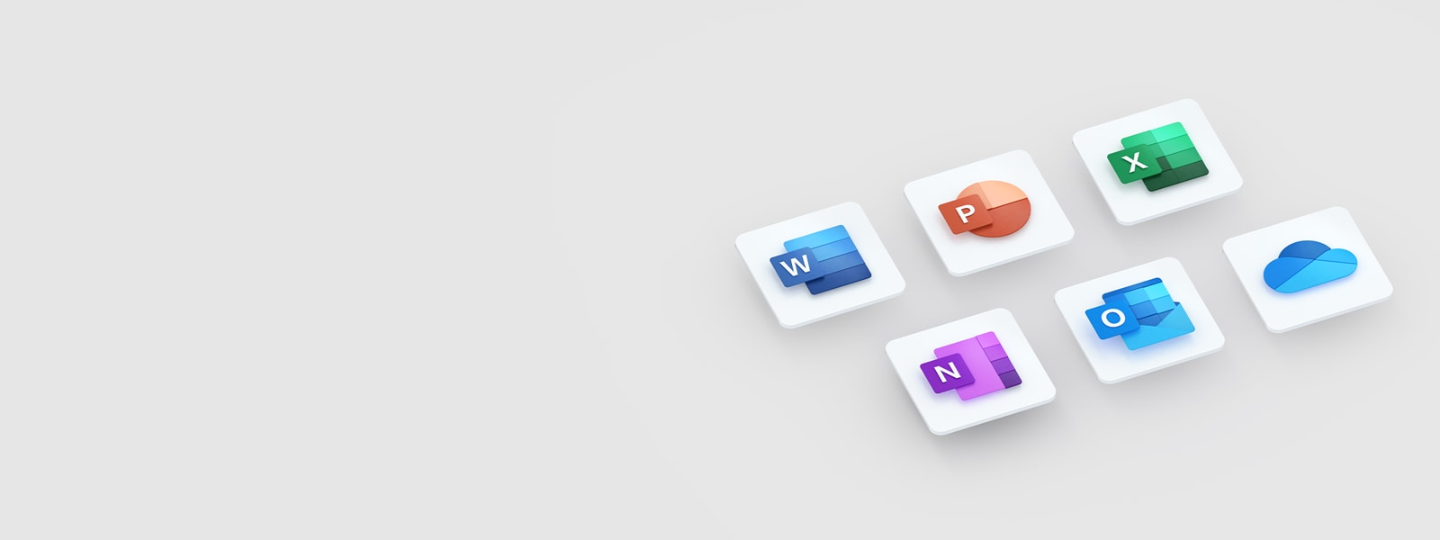 Logotipi za Microsoft Word, PowerPoint, Excel, OneNote, Outlook in OneDrive