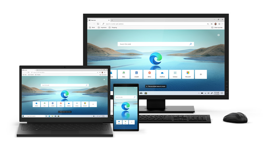 Desktop, laptop, mobile phone devices with Edge home screen.