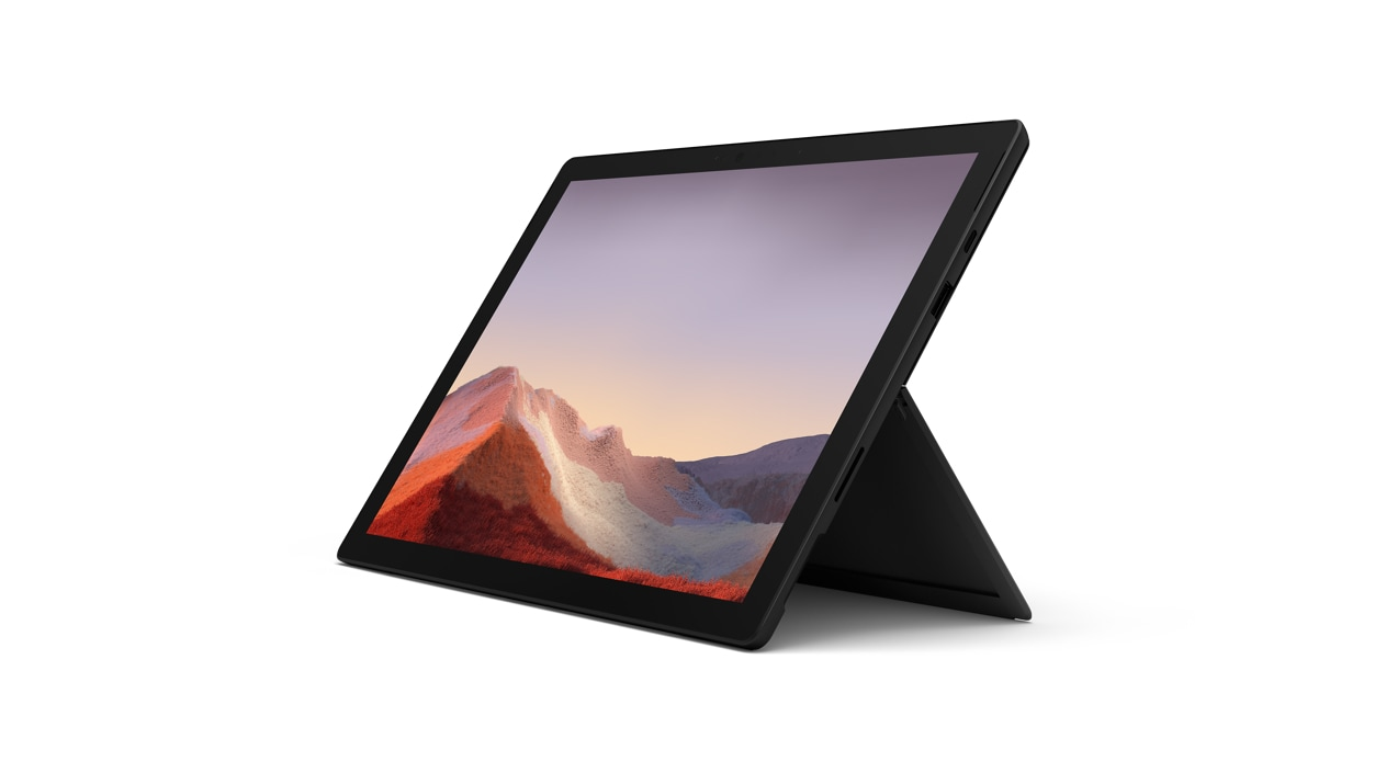 Surface Pro 7 in black, shown in tablet mode.