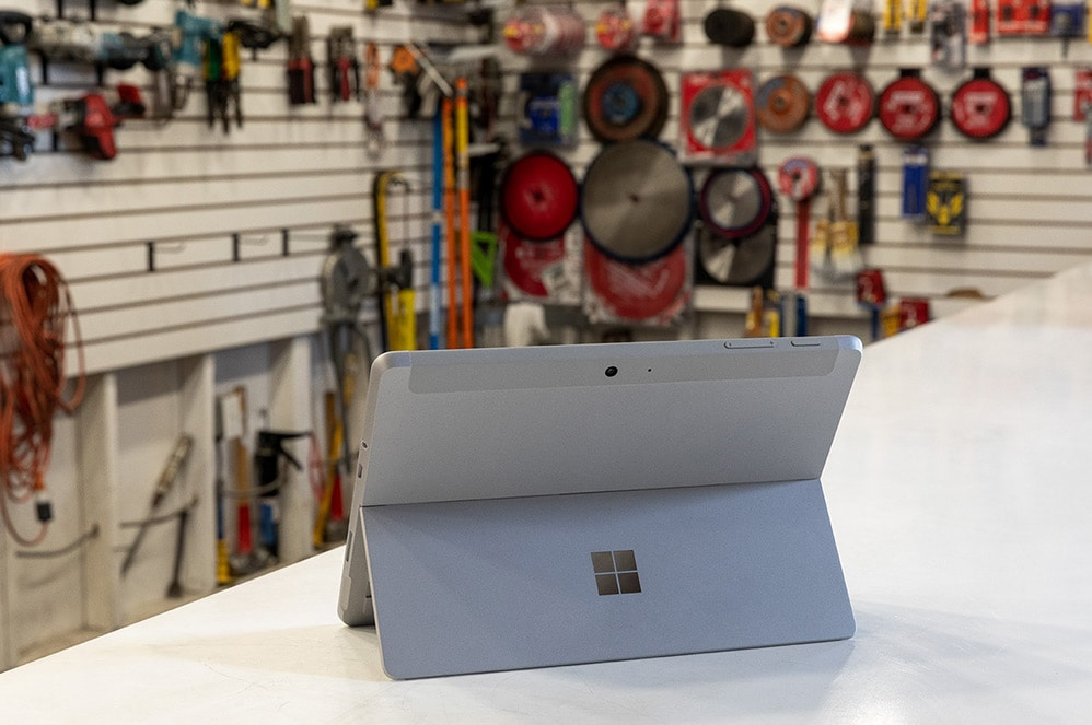 Surface Go 2 seen from behind in a hardware shop