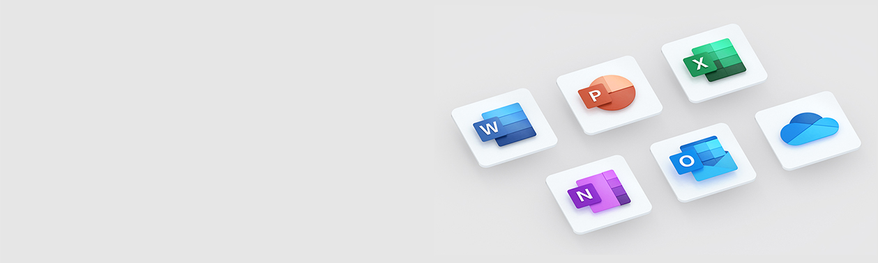Microsoft Word, PowerPoint, Excel, OneNote, Outlook ve OneDrive logoları