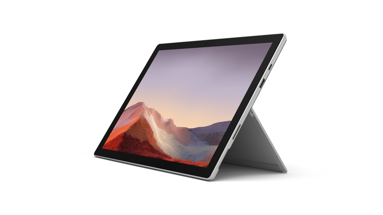 Surface Pro 7 in platinum, shown in tablet mode.