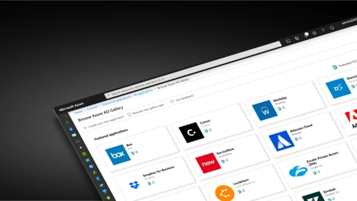 Screenshot of the Microsoft Azure AD app gallery with a grid of featured apps