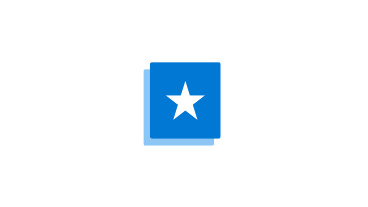 Illustration of a blue box with white star