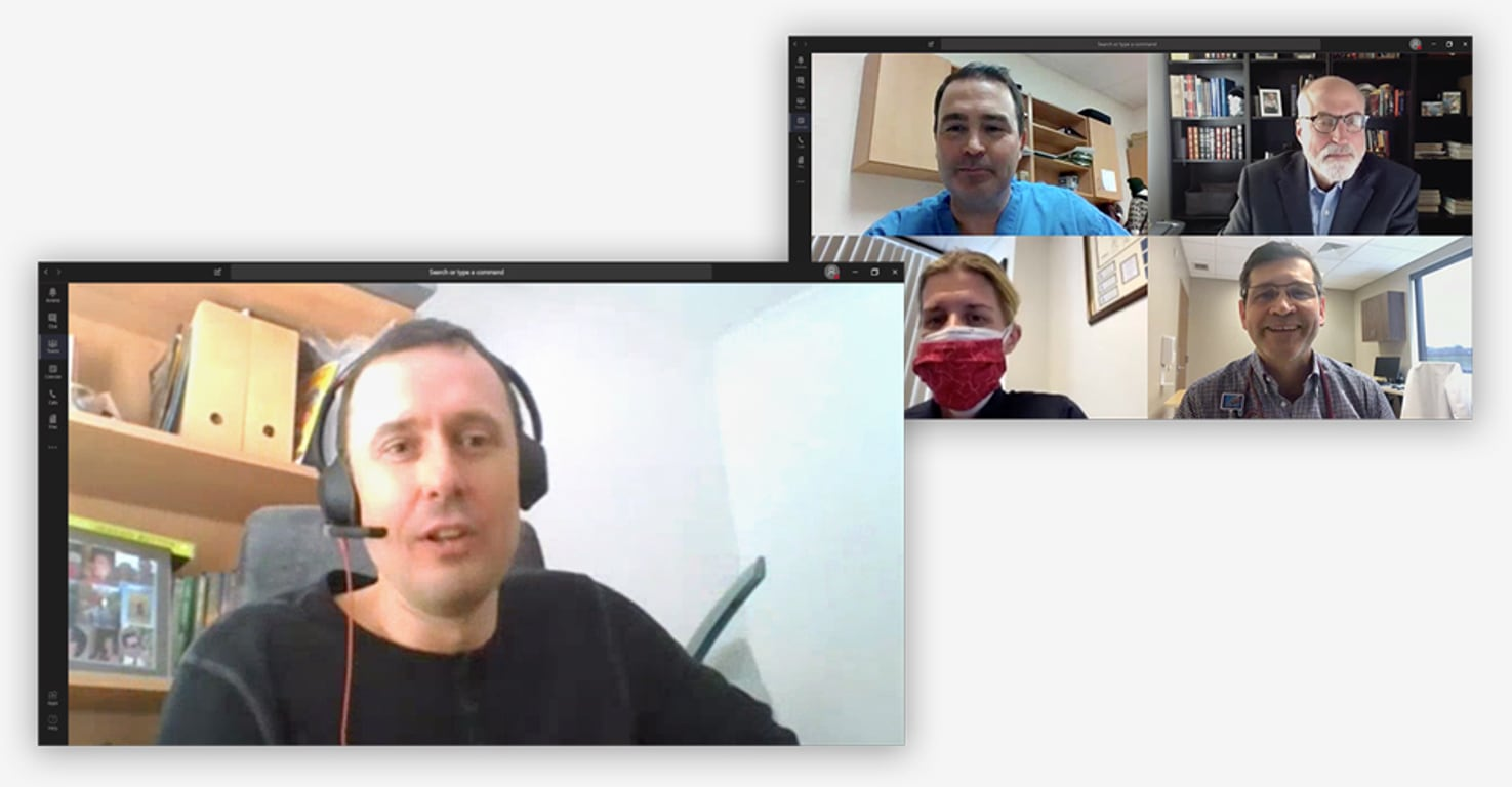 Still images from a video chat including employees from the Metropolitan Police Service, L'Oreal, Universita di Bologna, and St. Luke's Health talking about how they're using Microsoft Teams during these times.