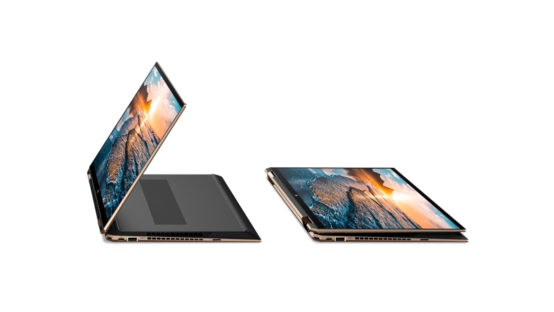 Side view of  HP Spectre 360 Convertible laptop in tablet modes.