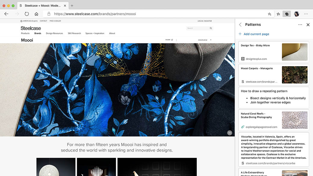 Collections settings in Microsoft Edge screen