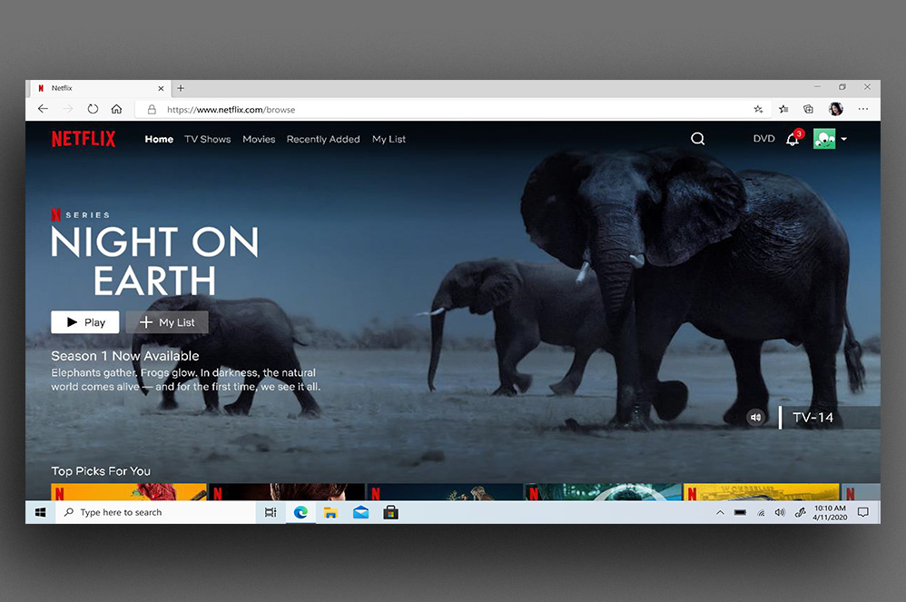 Netflix webpage displaying in a Microsoft Edge browser