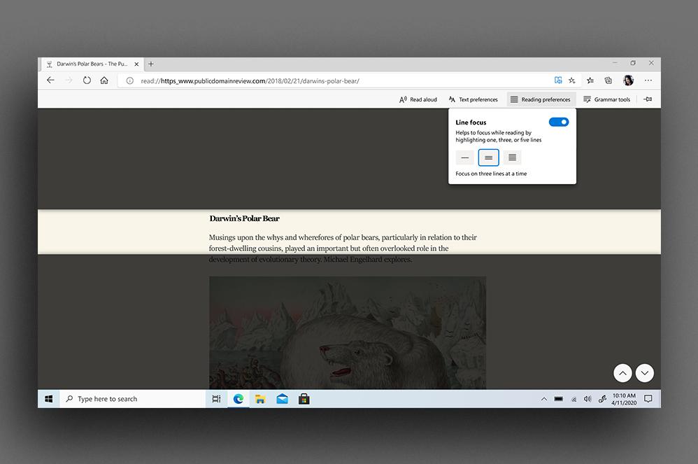 La barra degli strumenti Strumento di lettura immersiva del browser Microsoft Edge su un articolo sull'orso polare e Darwin