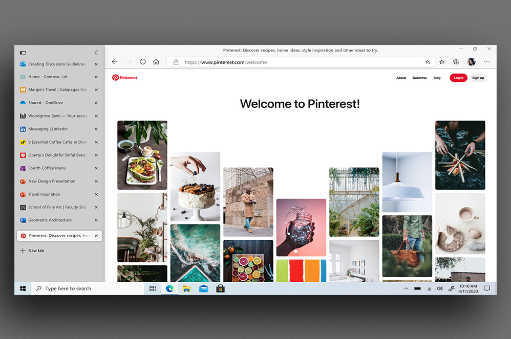 Barra de ferramentas de Guias Verticais do Microsoft Edge no Pinterest