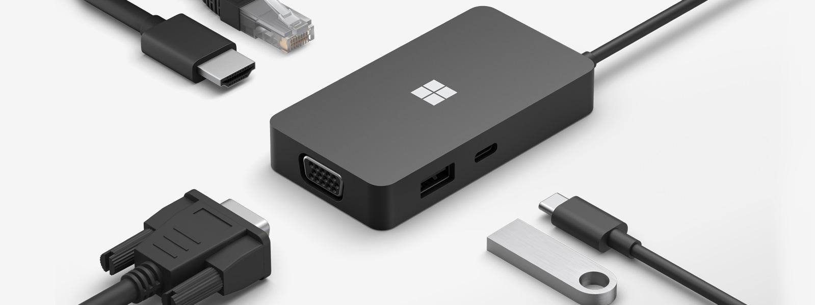 Microsoft USB-C Travel Hub có nhiều đầu nối với cáp xung quanh các cổng